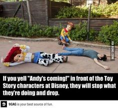 yell 'Andy's coming!' at Disney Land Paris ! ( or Disney World if I have the chance to go ** )