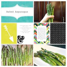 Baked Asparagus. Recipe page made using the Project Life App by Becky Higgins.