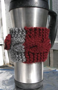 Cabled Coffee Cozy Gray Crimson with Button  Made by LadyJaneDarcy, $5.00 #WSU #Cougars #WSUCougars
