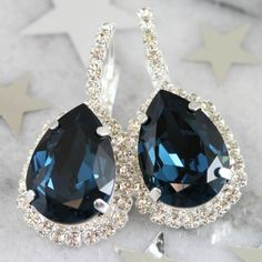 Swarovski Crystal Navy Blue Drop Earrings-Swarovski Crystal Navy Blue Drop Earrings, swarovski crystal earrings, swarovski crystal elements crystal earrings,  swarovski crystal jewelry, crystal earrings, swarovski crystal bridal earrings, swarovski crystal bridal jewelry, crystal bridal earrings,  swarovski crystal prom earrings, swarovski crystal prom jewelry, swarovski crystal bridesmaid earrings, swarovski crystal bridesmaid jewelry, crystal prom jewelry,  swarovski crystal wedding…