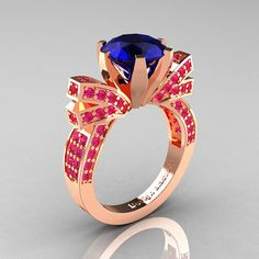 French 14K Rose Gold 3.0 CT Blue and Pink Sapphire door artmasters, $1449.00