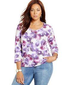 Karen Scott Printed 3/4 Sleeve Shirt Top Purple Womens Plus Size 1X - NWT #KarenScott #KnitTop #Casual