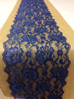 30 Burlap Lace Table Runner with Navy Blue by LovelyLaceDesigns