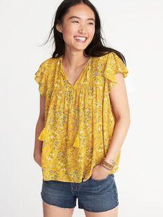 e3c14f88af8 Floral-Print Flutter-Trim Swing Top for Women