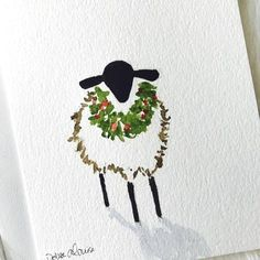 Christmas Sheep with a Wreath Original Painting with a Shadow. on a 5 x 7 . Christmas Sheep with a Wreath Original Painting with a Shadow. on a 5 x 7 Greeting Card with Envelope. Painted Christmas Cards, Watercolor Christmas Cards, Watercolor Cards, Christmas Art, Watercolor Paintings, Christmas Wreaths, Christmas Ornaments, Simple Watercolor, Tattoo Watercolor