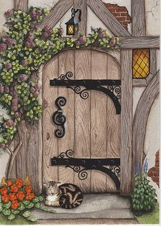 English Tudor Door Print by Parrish on Etsy Tudor Cottage, Frida Art, English Decor, House On The Rock, Fairy Doors, Miniature Fairy Gardens, Painted Doors, Rock Art, Cat Art