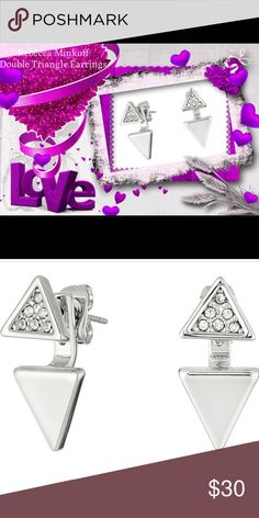 Rebecca Minkoff Double Triangle Earrings. NWT Shine bright like a diamond in these stunning Rebecca Minkoff earrings. PRODUCT INFORMATION: * Double triangle front to back studs.  * Clear faceted crystal accents.  * Silver * Post back. * Imported.  * Measurements:     * Width: 1⁄3 in     * Height: 2⁄3 in     * Weight: 0.1 oz.                                              The first two photos have been enlarged to show finer details. The last two photos represent the size of…