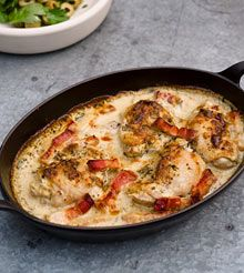 Nigel Slater's 10 simple summer recipes - including my fave, chicken, mustard and creme fraiche Baked Peach, Nigel Slater, Chicken Thigh Recipes, Chicken Ideas, Cooking Recipes, Healthy Recipes, Savoury Recipes, Meal Recipes, Main Meals