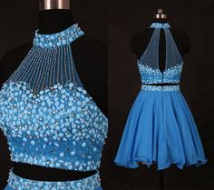 High Neck Sky Blue Two Pieces Homecoming Dress/Short Beading Homecoming Dresses/Short Prom Dress/Cocktail Dress/2016 Scallop Edge Homecoming Dress WDD072