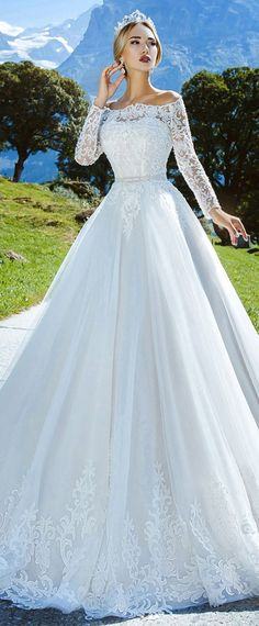 45f891add Amazing Tulle Off-the-shoulder Neckline A-line Wedding Dress With Lace  Appliques