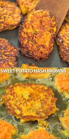 snack recipes Made with only 4 ingredients, these Sweet Potato Hash Browns are easy to make and very delicious. Learn how to make perfect hash browns with my step-by-step photo and video instructions. Cooktoria for more deliciousness! Sweet Potato Recipes, Vegetable Recipes, Vegetarian Recipes, Chicken Recipes, Cooking Recipes, Healthy Recipes, Fried Sweet Potato Cake Recipe, Sweet Potato Hash Paleo, Sweet Potato Dishes