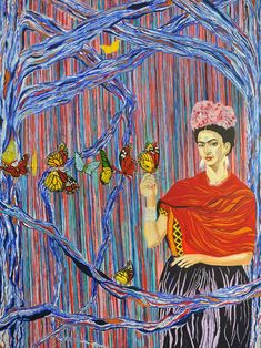 Butterfly Cry Artist Affordable Fine Art Prints in Size with Artist's Information in cellophane cover- the Mexican Heroine series John Mcdonald, Frida Kahlo Portraits, Original Paintings, Original Art, Popular Paintings, Artist Brush, Mexican Artists, Feminist Art, Blue Trees