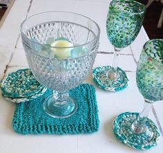 Coaster & Trivet Set  Aqua/Turquoise and Cream  by SomeBeachChic