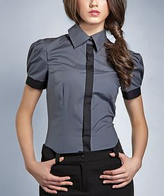 Great with pants or a pencil skirt!   Love this Gray & Black Button-Up Top by NIFE on #zulily! #zulilyfinds