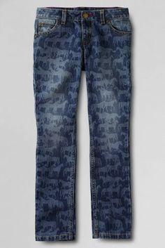 Girls' 5-pocket horse pattern pencil leg denim jeans. Shop more back to school styles at Lands' End