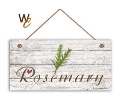 Rosemary Sign Garden Sign Rustic Decor Herb on by WoodlandCrew