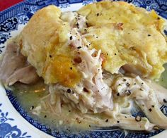 Ingredients    3 – 4 cups cooked chicken, cut into bite sized pieces (use rotisserie chicken if desired)  4 tablespoons butter  1 cup milk  1 cup all-purpose flour  1 1/4 teaspoons baking powder  1/4 teaspoon salt  2 cups chicken broth  1 (10.75 oz) can