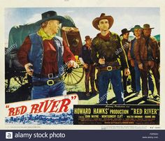 """RED RIVER (1948) - John Wayne - Montgomery Clift - Walter Brennan - Joanne Dru - Harry Carey Sr. - Coleen Gray - John Ireland - Noah Berry Jr. - Harry Carey Jr. - Paul Fix - From the Saturday Evening Post story, """"The Chisholm Trail"""" by Borden Chase - Screenplay by Borden Chase & Charles Schnee - Directed & Produced by  Howard Hawks - United Artists - Lobby Card."""