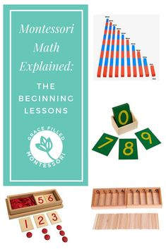 Once you have an understanding of the foundational principles of the Montessori approach to math, you are ready to get started on the lessons. The first lessons of the Montessori math curriculum teach the quantities and numbers Montessori Kindergarten, Montessori Homeschool, Montessori Classroom, Montessori Toddler, Montessori Activities, Homeschooling, Montessori Elementary, Toddler Learning Activities, Montessori Materials