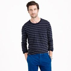 As a layer or on its own, this long-sleeve tee in textured cotton is the one you can't wait to wear first after laundry day. <ul><li>Cotton.</li><li>Rib trim at neck and cuffs.</li><li>Machine wash.</li><li>Import.</li></ul>