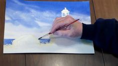 How to paint a Lighthouse in Watercolor - Step 3: Adding in the Ocean