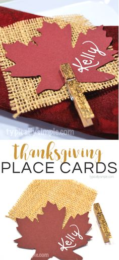 Thanksgiving Place Cards {Burlap & Glitter}