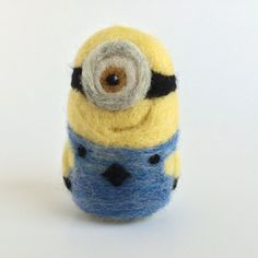 Needle felted minion/ miniature minion toy/ by FrillAndFluff