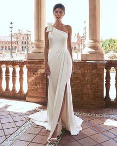 21 Best Of Greek Wedding Dresses For Glamorous Bride ❤ greek wedding dresses simple assymetric neckline pronovias #weddingforward #wedding #bride #weddingoutfit #bridaloutfit #weddinggown