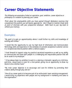 7 Sample Career Objective Statements Templates Goals Examples Resume