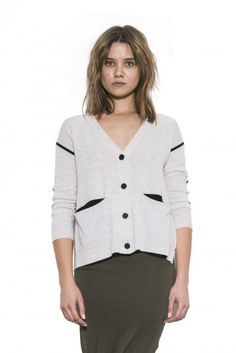 Kira Cardigan by one grey day- Our Kira is a modern take on the classic cardigan. She has a trend-forward boxy shape and black taping detail. Modern Classic, Sweater Cardigan, Tunic Tops, Fashion Outfits, Grey, Blouse, Sweaters, Fall 2015, Knits