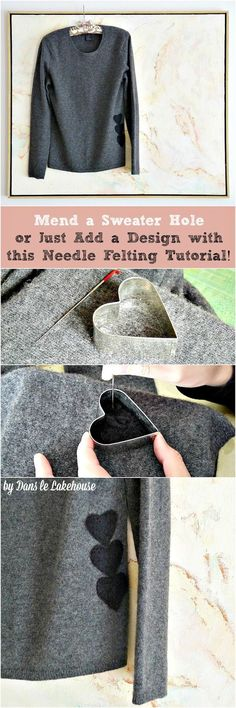 How to use needle felting techniques to update, decorate or even mend a hole in a wool sweater // How to mend a sweater hole in style! Recycled Sweaters, Wool Sweaters, Sweater Mittens, Alter Pullover, Mode Crochet, Felted Wool Crafts, Make Do And Mend, Felting Tutorials, Diy Clothing