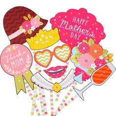 FREE PDF download DIY Photo booth props: Mother's Day,Event,Paper Craft,Mother's Day,present,cute,Event