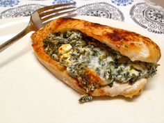 Spinach and feta stuffed chicken breasts...