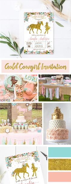 Pink gold Cowgirl Birthday Party decorations, banner, wishes cards printable Horse Theme Birthday Party, Cowgirl Birthday Invitations, Birthday Wishes Girl, Girls Party Invitations, Birthday Cake Girls, Birthday Party Decorations, Cowgirl Birthday Parties, Horse Party Food, Horse Party Decorations