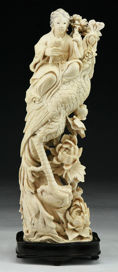 """A Chinese Antique Carved Ivory Figure Group: presented on wood stand, of Late Qing Dynasty  Dimensions: H: 10""""; (overall) H: 10-1/2"""""""