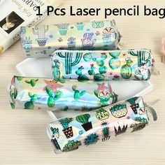 5de7acc7d Laser Green Cactus Cartoon Pencil Case Cosmetic Bag Organizer Student Gifts   affilink Cactus Cartoon
