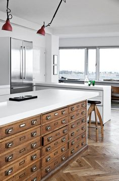 Card cabinet style drawers in the kitchen