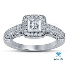 Prong Setting Princess D/VVS1 Diamond 925 Silver Women's Engagement Ring 2.10 CT #affoin8 #WomensWeddingEngagementRing