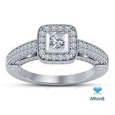 Prong Setting Princess D/VVS1 Diamond 925 Silver Women's Engagement Ring 2.10 CT #affoin8 #WomensWeddingEngagementRing
