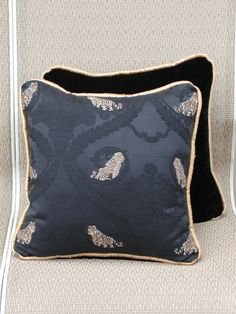 Decorative Throw Pillow Set Luxurious Black Velvet with Tigers and Leopards Trimmed in Gold