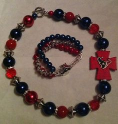 Houston Texans Side Cross Beaded Necklace & by sassygirlsx3, $39.95