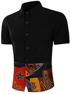 ad0a5207bb9d SALE PRICE -  4.53 - SHOWNO Mens Splicing Short Sleeve Summer Cotton Linen  African Print Dashiki