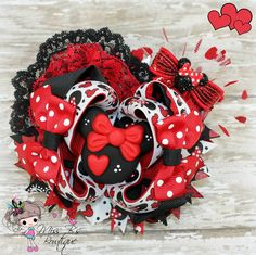 Minnie Mouse inspired Valentine's themed hair bow by #missbsbowtique