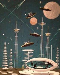 20 trendy Ideas for retro illustration art space age Science Fiction Kunst, Science Art, Retro Kunst, Retro Art, Arte Sci Fi, Sci Fi Art, Mid Century Modern Art, Mid Century Art, Illustrator