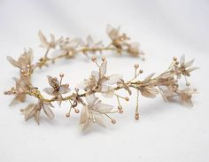 Gold Floral Wedding Hair Vine of Flowers and Beads, Rustic Woodland Wedding Hair Halo Flower Crown Boho Wedding Bridal Hair Wreath This Gold floral hair vine features vintage organza flowers with I painted gold wired on gold wire with some small gold beads. It is made to go across the