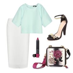2 Cool Ways To Rock A Statement Bag | The Zoe Report Simona Jacquaed Cropped Top, Tibi $345, Alicia White Crepe Midi Skirt, Missguided $27, Cara Ankle Strap Sandals, CArvela Kurt Geiger $185, Love Me Dew Lip Crayon in Purple Currant, Laura Geller $16