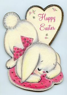 Vintage cute bunny on Easter card