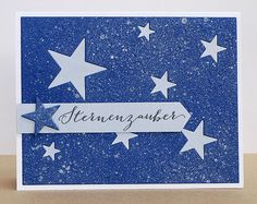 "blog.karten-kunst.de - Memory Box Stanzschablone All Star Detail Plate, Stempel: Karten-Kunst Clear Stamp Set Große Worte ""Sternenzauber"""