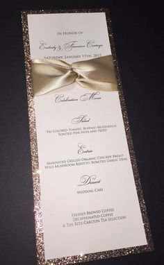 Glitter Wedding Menu Elegant Formal Wedding by SoireeCustomPaperCo