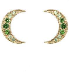 Andrea Fohrman Tsavorite Crescent Moon Stud Earrings